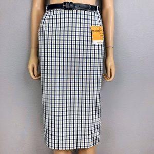 Vintage Below the Knee Pencil Skirt Plaid Pinup